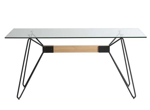 Mesa comedor rectangular de cristal patas horquilla industrial
