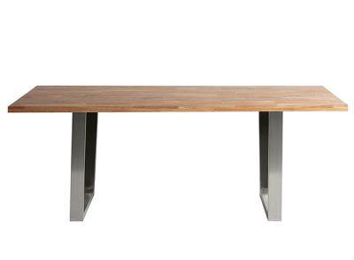 Mesa comedor de roble macizo y pies de acero inoxidable