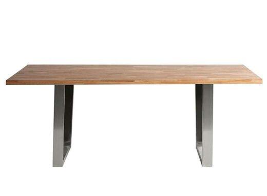 mesa comedor acero inoxidable roble macizo 612ME006