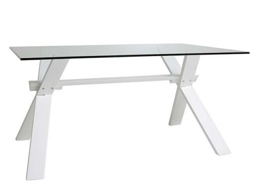 Mesa de cristal para comedor con patas en X rectangular