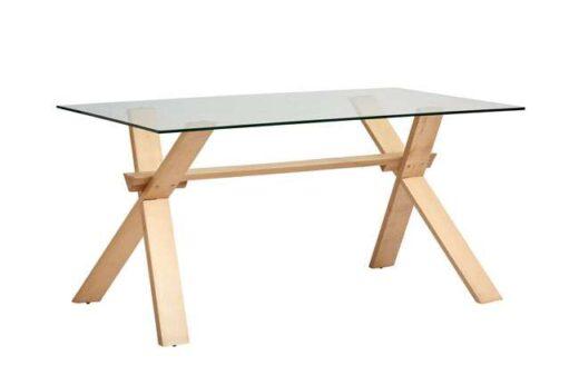 comedor mesa cristal patas en x rectangular madera 612ME0102