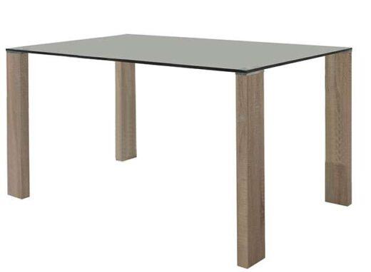 Mesa de cristal templado rectangular 4 patas madera para comedor