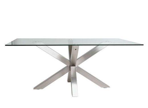 mesa moderna de vidrio con base cruzada 612ME0081