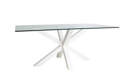 Mesa de vidrio moderna con base cruzada
