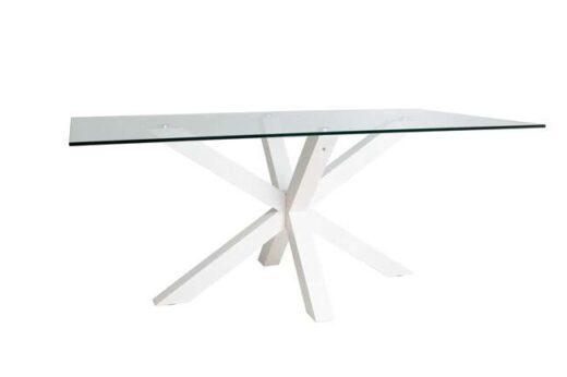 mesa de vidrio moderna con base blanca cruzada 612ME0082