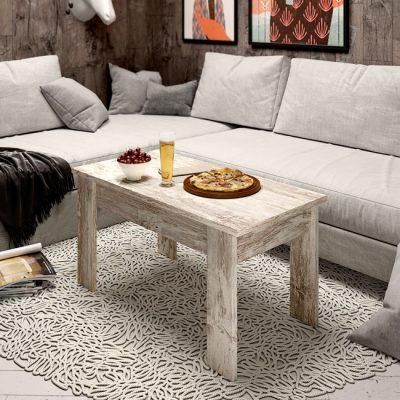 Mesa baja elevable para salón color roble vintage de 4 patas (disponible en más colores)