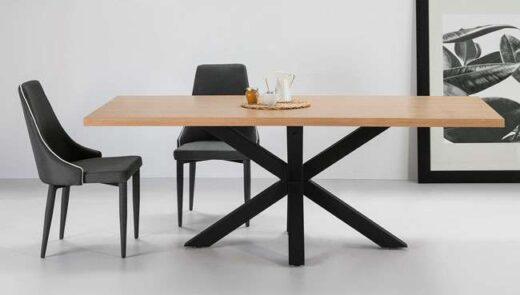 mesa patas negras cruzadas comedor madera 612ME0012