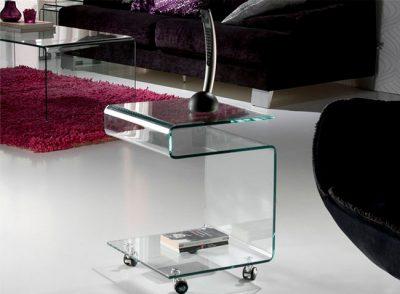 Mesa auxiliar para teléfono de cristal curvado en forma de S + ruedas