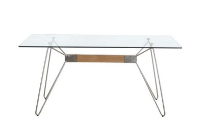 Mesa comedor rectangular de cristal con toque industrial