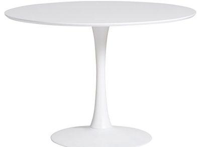 Mesa redonda de comedor blanca (también en negra y negra con nogal)