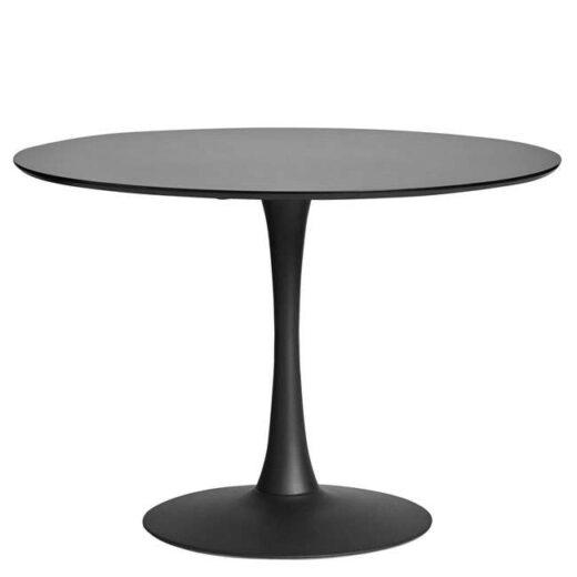 Mesa redonda de comedor blanca de un solo pie