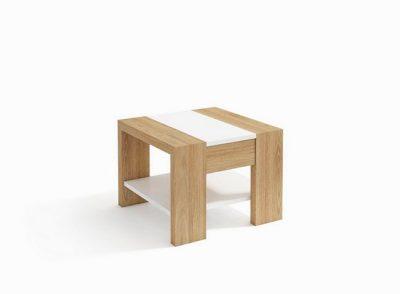Mesa rinconera de salón cuadrada en color blanco y madera