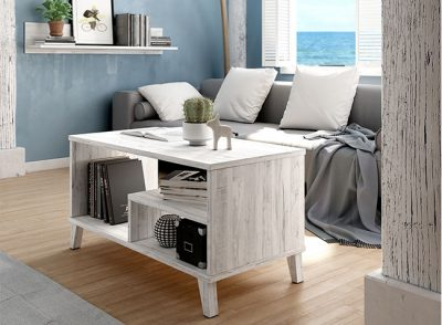 Mesa de salón baja con revistero y estante estilo nórdico-vintage