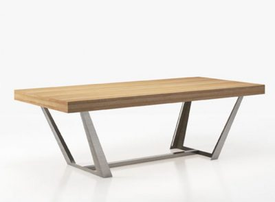 Mesa salón comedor moderna de madera con soporte metálico (personalizable)