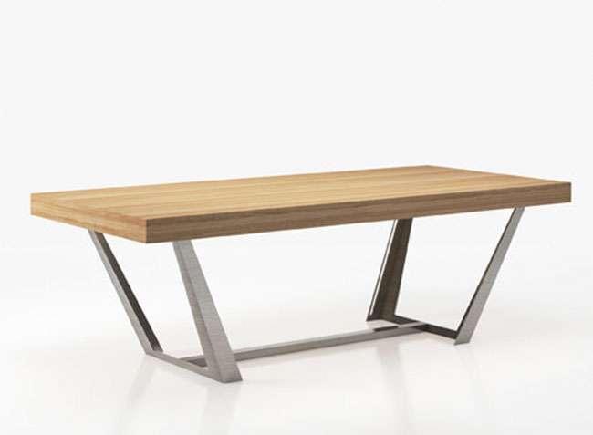 Mesa sal n comedor moderna madera soporte met lico personalizable - Mesa salon moderna ...