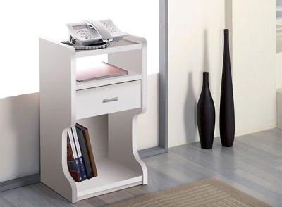 Mesa teléfono estrecha con 1 cajón