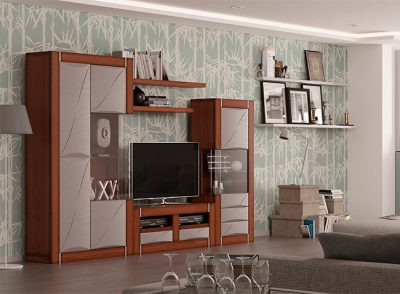 Mobiliario de salón con 2 vitrinas laterales y mueble televisión en chapa de roble barniz