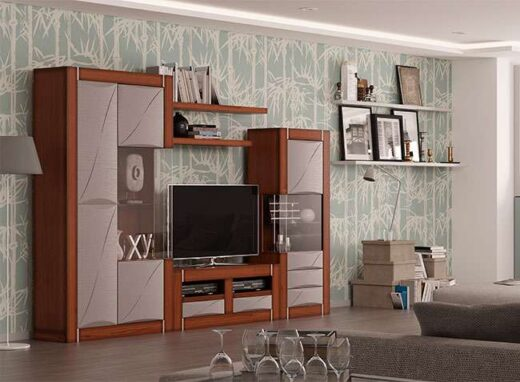 mobiliario salon con 2 vitrinas laterales y mueble tv chapa roble 316SA0361