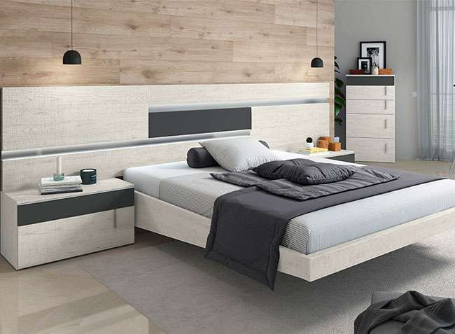 Dormitorio matrimonio moderno cabecero y 2 mesitas bancada aparte - Cabeceros y mesitas de noche ...