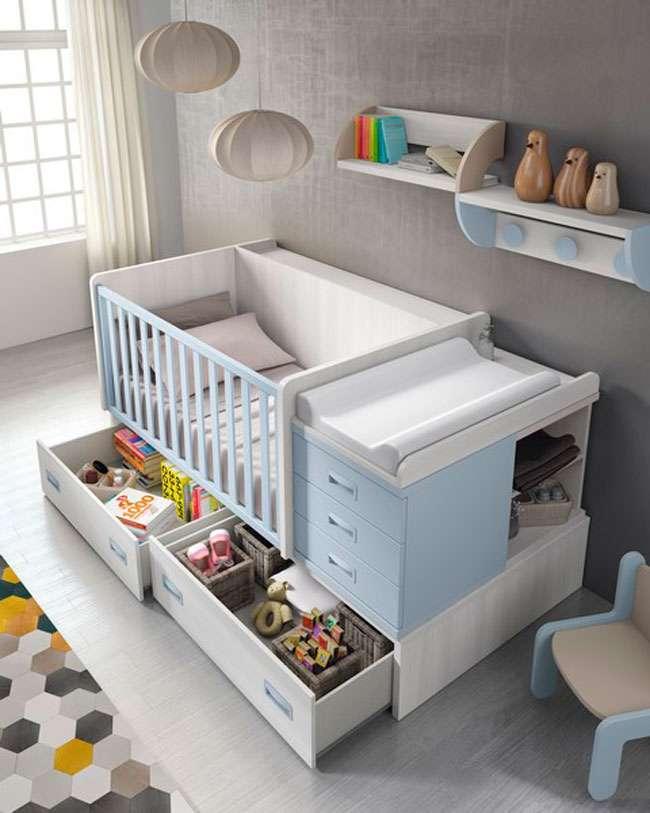 Mueble infantil compacto de cuna convertible con cajones y cambiador - Cama individual con cajones ...