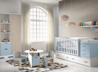 Mueble infantil compacto de cuna convertible a cama individual con cajones y cambiador