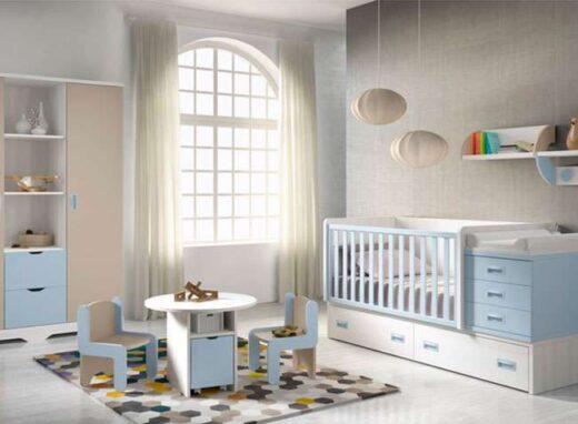 mueble compacto infantil cuna convertible a cama individual cajones y cambiador 259SM1091