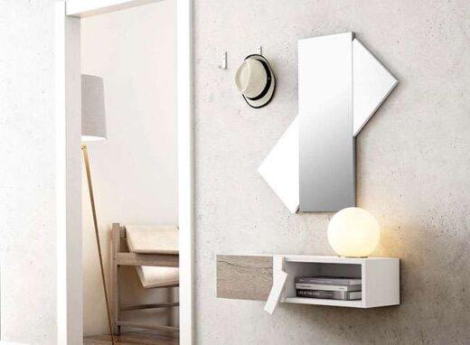 mueble recibidor blanco memphis colgado con espejo original 162H10432