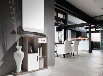 Mueble recibidor modular con huecos y cajones