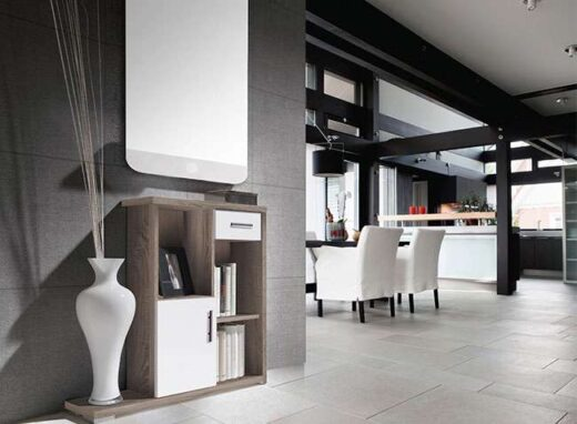 mueble blanco cambrian recibidor modular con huecos cajones 162H12472