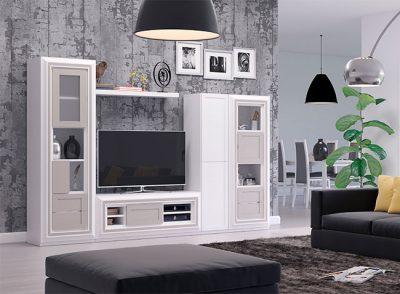 Muebles neoclásicos salón lacado blanco