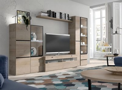 Mueble para TV modular con vitrinas laterales en color madera natural