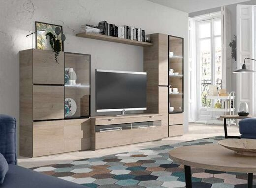 mueble modular tv salon con vitrinas color madera natural 244SA0181