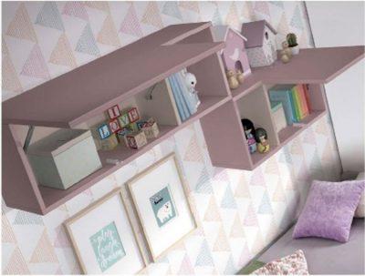 Dormitorio juvenil con muebles modulares compactos dobles