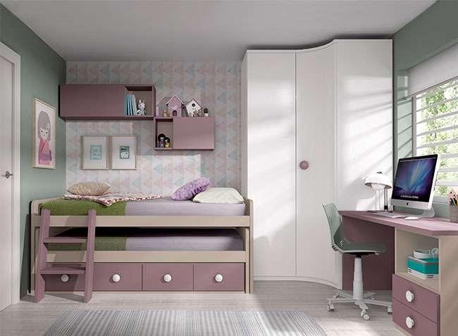 Dormitorio juvenil muebles modulares compactos dobles for Muebles modulares juveniles
