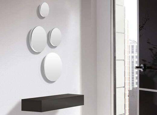 recibidor antracita cajon colgante minimalista con espejos redondos 162H25632