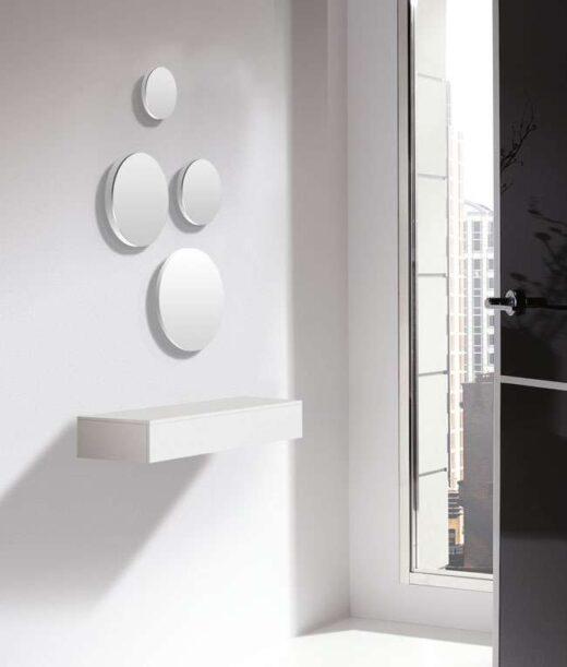 recibidor blanco cajon colgante minimalista con espejos redondos 162H25633