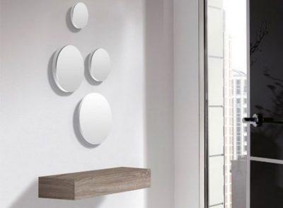 Recibidor de cajón colgante minimalista con espejos redondos