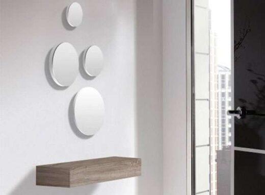 recibidor cambrian cajon colgante minimalista con espejos redondos 162H25631