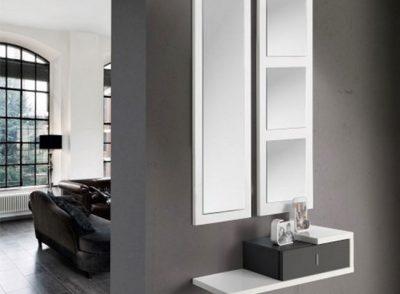 Recibidor colgado de 1 cajón + espejo doble estilo minimalista