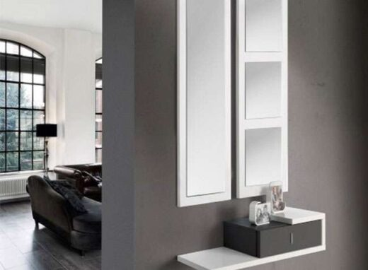 recibidor 1 cajon colgado espejo doble minimalista 162HC124