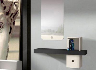 Recibidor colgante pequeño con espejo