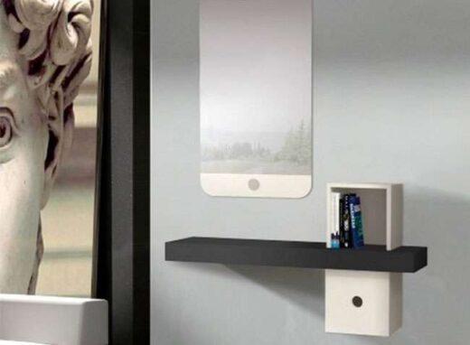 recibidor pequeno colgante con espejo blanco antracita 162HC0011