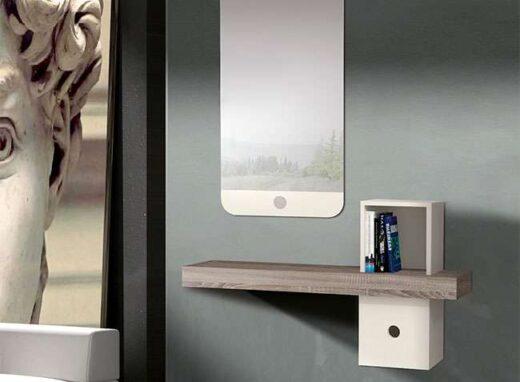 recibidor colgante pequeno con espejo cambrian blanco 162HC0012