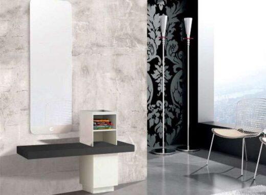recibidor con espejo vertical grande blanco antracita 162HB0011