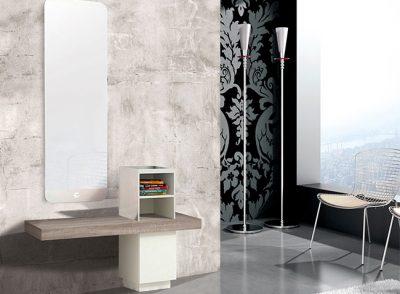 Recibidor con espejo grande vertical