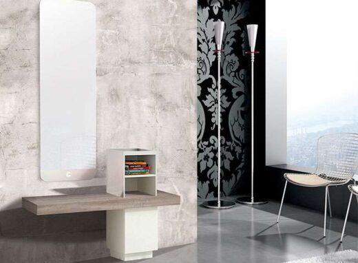 recibidor blanco cambrian con espejo grande vertical 162HB0012
