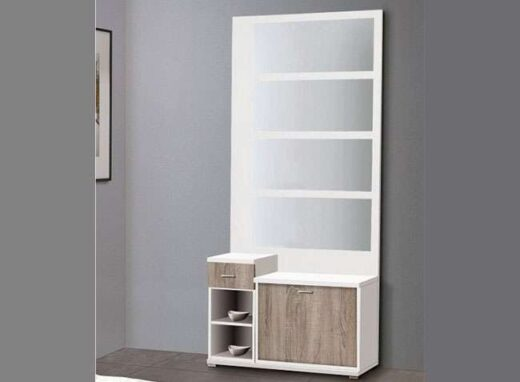 recibidor mural espejo y zapatero blanco cambrian 162HR6121