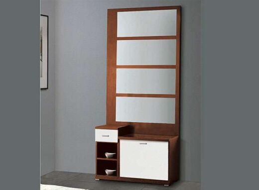 recibidor con espejo mural y zapatero blanco cerezo 162HR612
