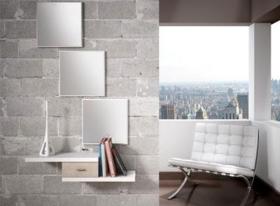 Recibidor minimalista escalonado + espejo