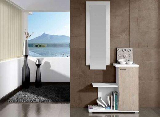 recibidor blanco taquillon moderno escalonado con espejo 162HH443